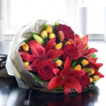Luxury Red Rose and Lily Hand-tied