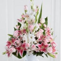 Pink Rose, Lily and Gladioli Service Arrangement